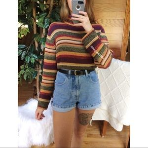🌿 Vintage Autumn Striped Cozy Knit Sweater 🌿